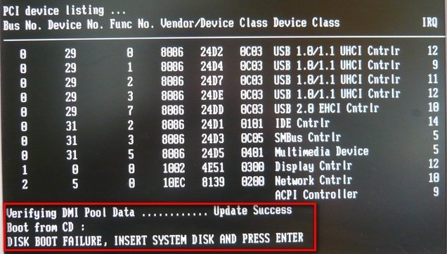 DISK BOOT FAILURE, INSERT SYSTEM DISK AND PRESS ENTER