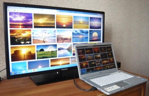 как с ноутбука перевести изображение на телевизор
