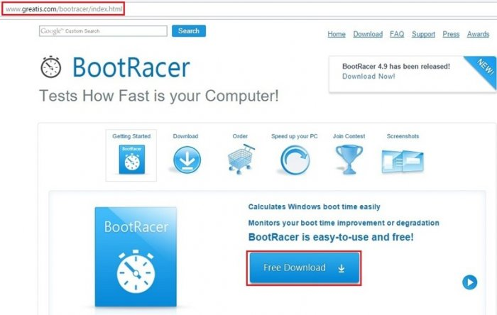 Измерение скорости загрузки Windows 10 бесплатной программой BootRacer 4.9