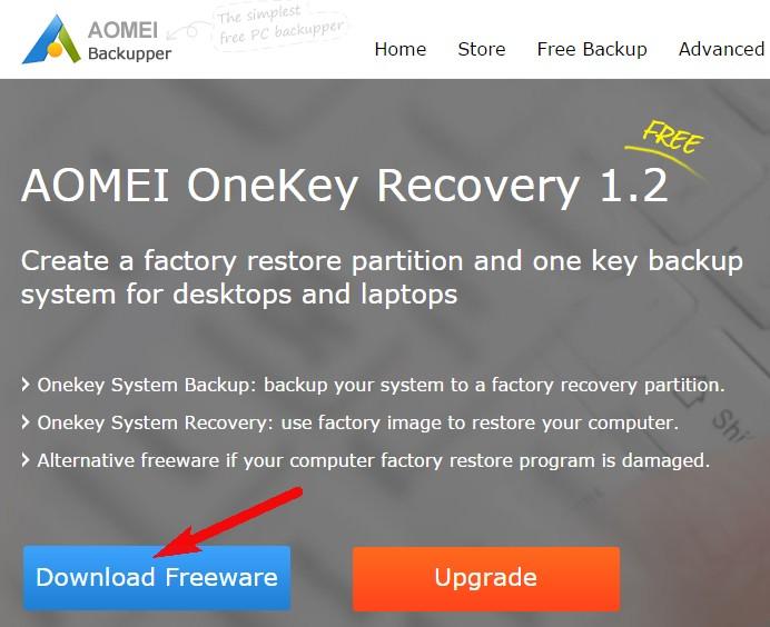 AOMEI OneKey Recovery - самая простая и к тому же бесплатная