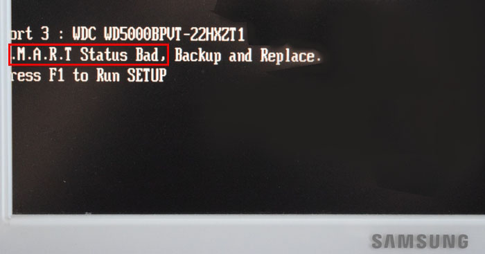 Ошибка при загрузке s m a r t status bad backup and replace Или