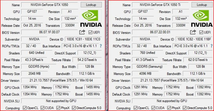 GeForce GTX 1050 vs GeForce GTX 1050 Ti
