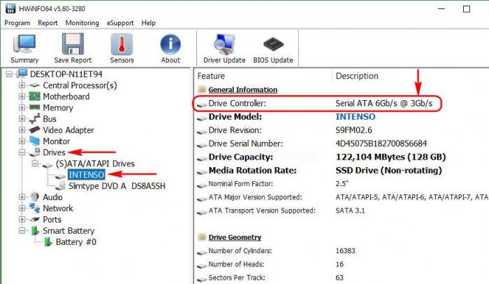 Как определить, жёсткий диск подключён через SATA II или через SATA III