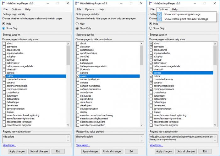 HideSettingsPages утилита для скрытия элементов приложения Параметры в Windows 10