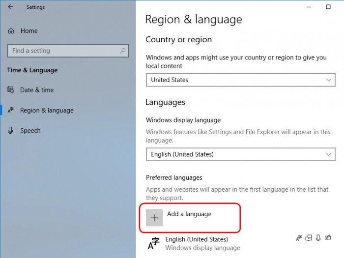 Как изменить системный язык в Windows 10 April 2018 Update
