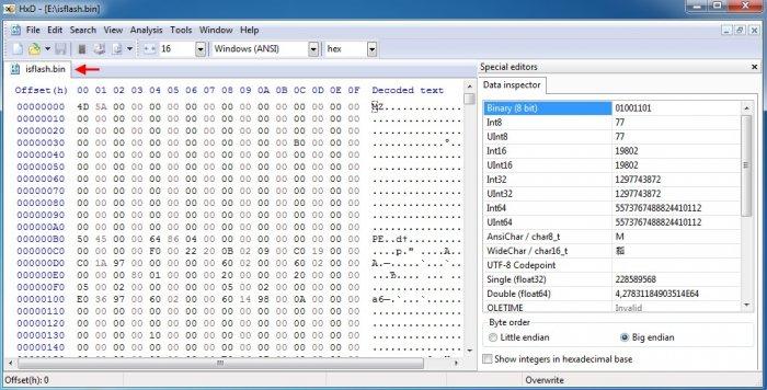 Восстановление повреждённой прошивки BIOS на ноутбуке программатором, в случае, если ноутбук не загружается. Часть 3. Извлечение прошивки BIOS из exe файла для обновления БИОСа. Редактирование файла прошивки в HEX-редакторе и её запись в микросхему BIOS