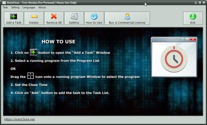 AutoClose — бесплатная утилита, позволяющая автоматически завершать работу программ в заданное время