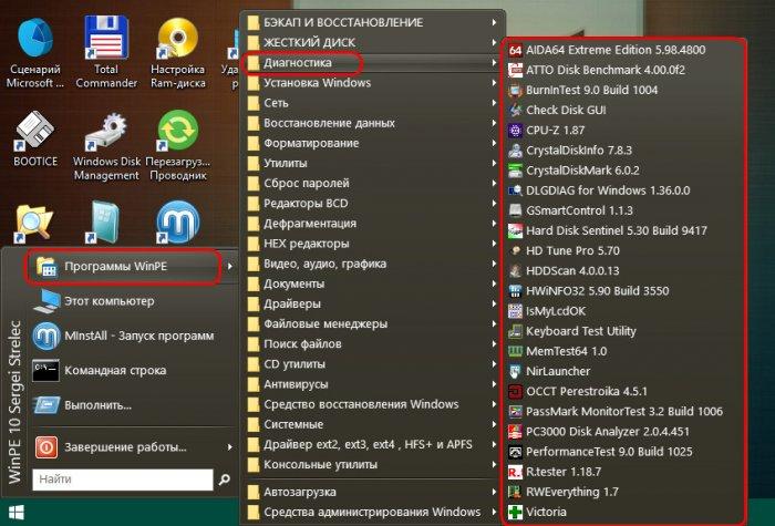 Средства диагностики компьютера на борту Live-диска Сергея Стрельца