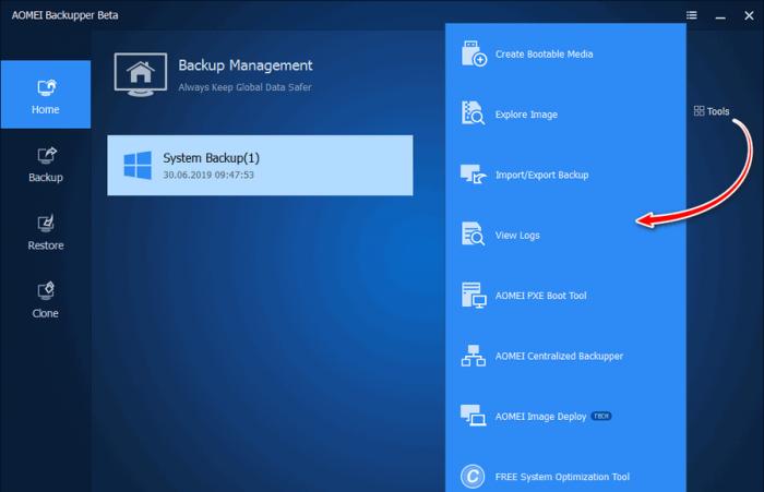 Программа для резервного копирования AOMEI Backupper 5.0 Beta с новым современным интерфейсом